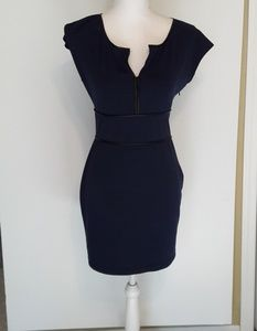 Max Studio Blue Ribbed Short Sleeve Dress